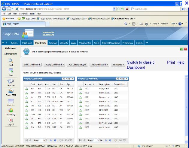 Sage CRM screenshot: CRM Apps
