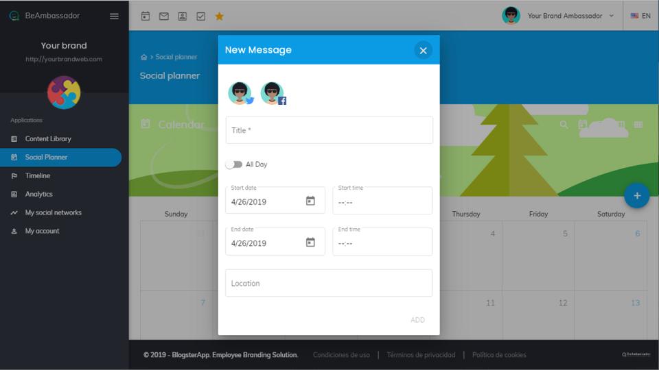BeAmbassador social planning screenshot