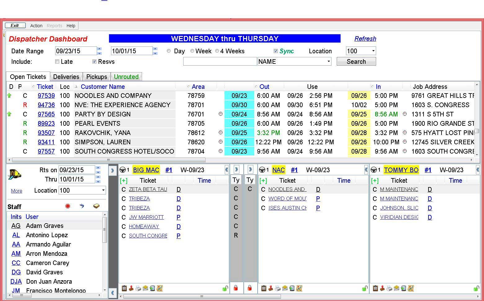 Alert screenshot: Alert Dispatcher Dashboard. Load trucks, assign drivers and helpers, all from a fun, graphical, drag-and-drop screen.