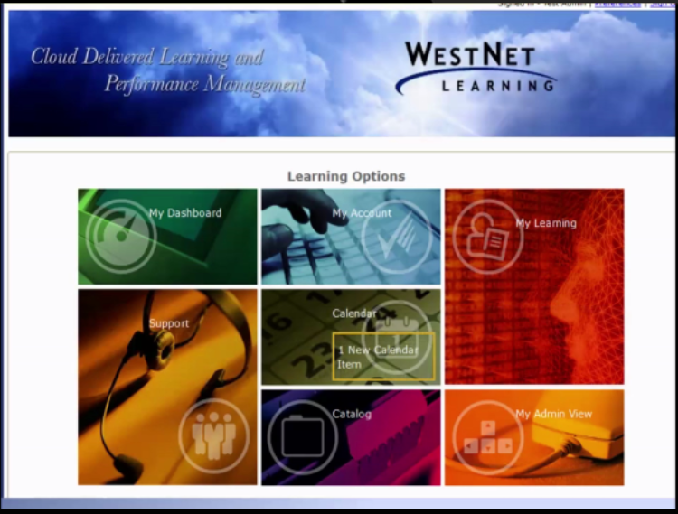 WesNet Learning home screen