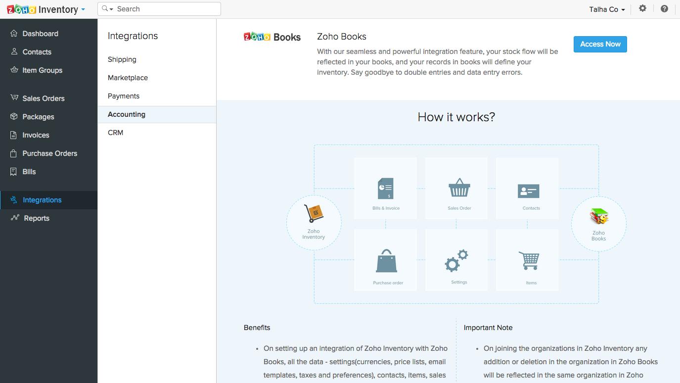 Zoho Inventory Software - Books integration
