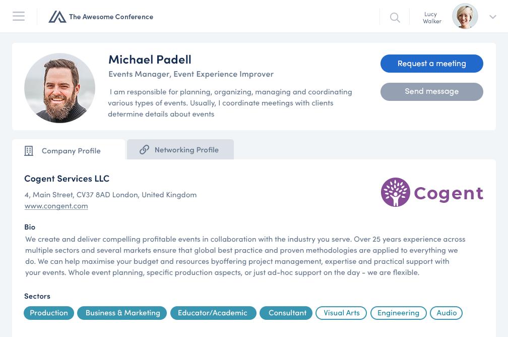 Converve screenshot: Networking Profile