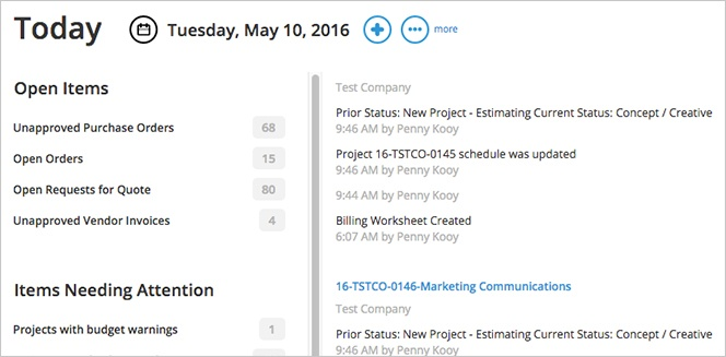 Track open items and project communications in one place