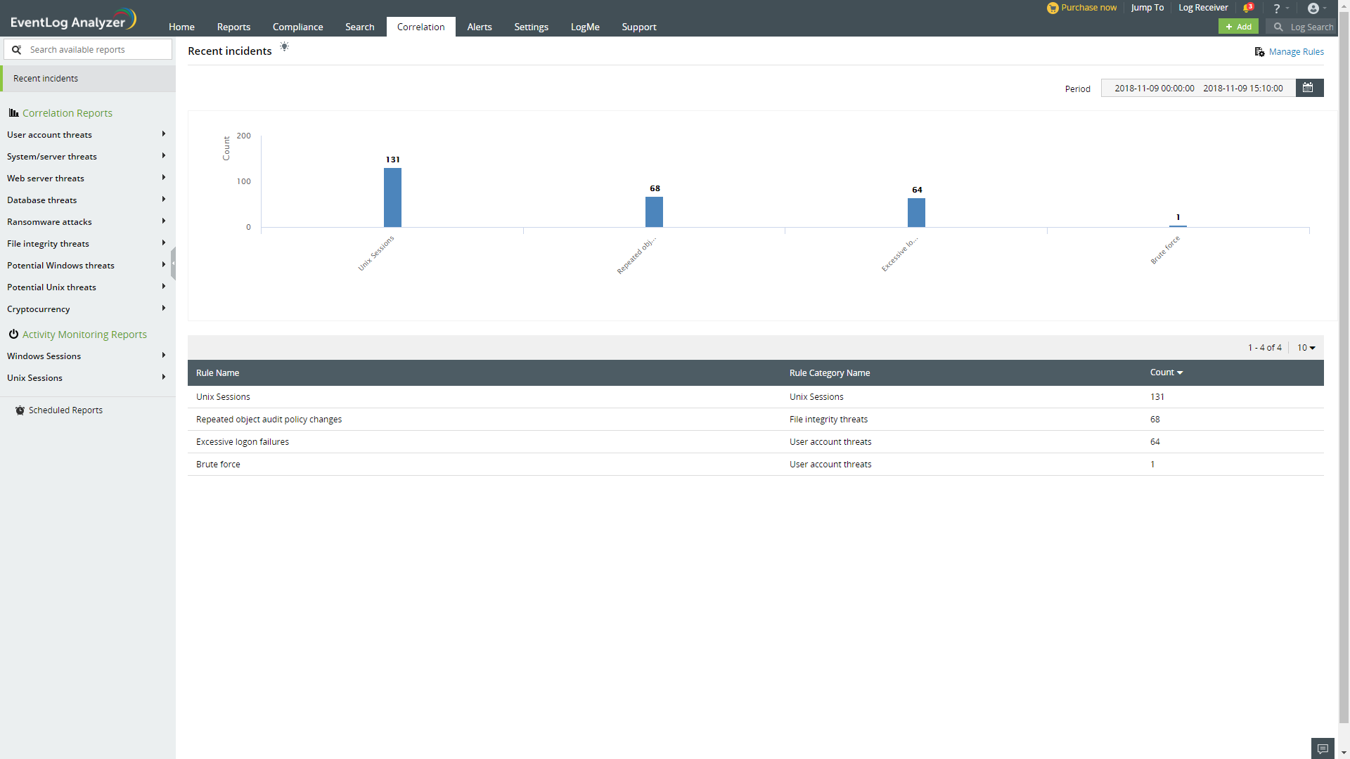 EventLogAnalyzer correlation screenshot