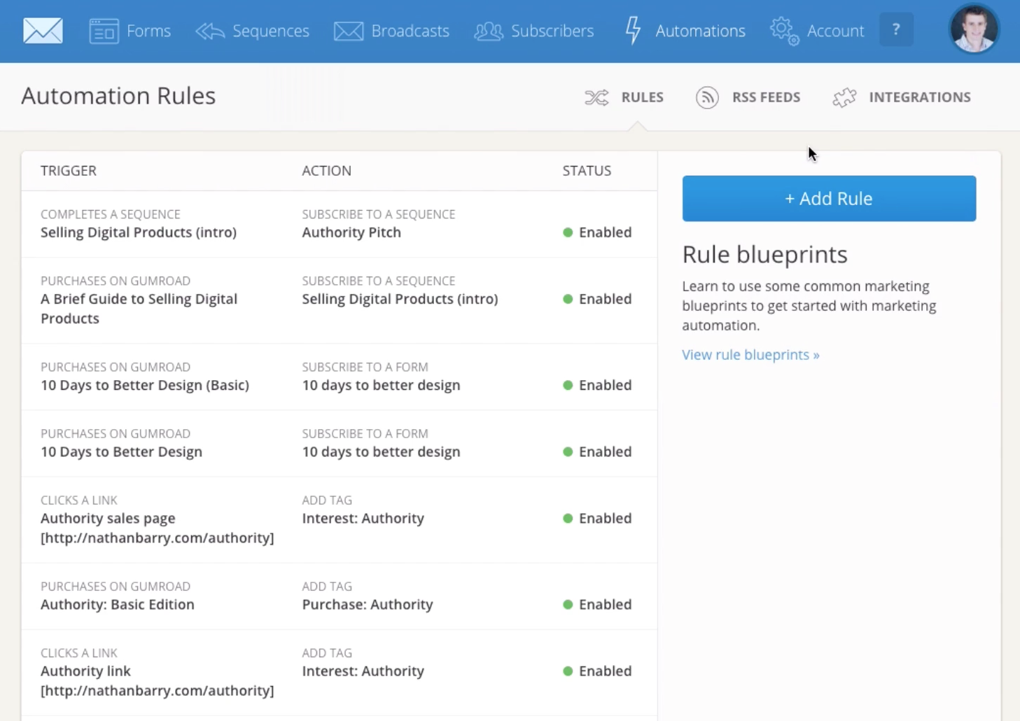 Users can add automation rules in ConvertKit to create automated workflows