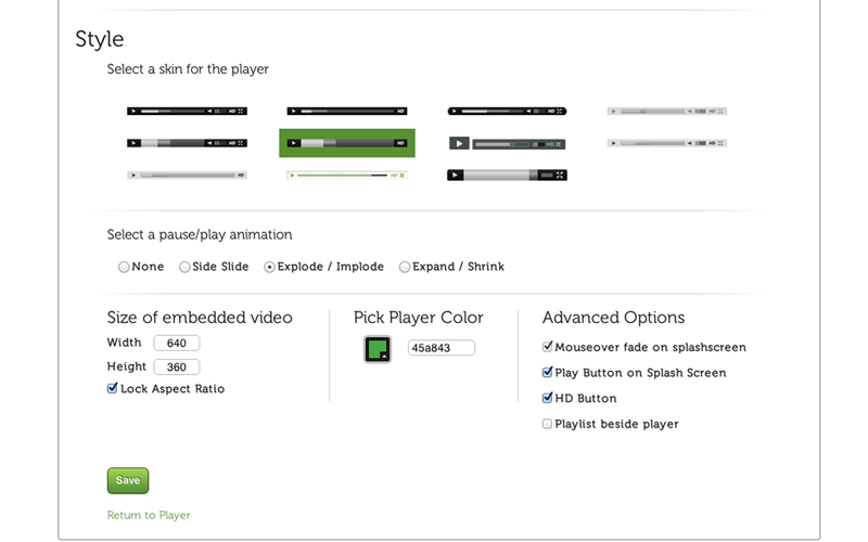 Settings configuration allows you to customize how your embedded video looks