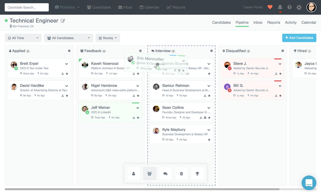 Breezy screenshot: Simple, drag-and-drop hiring pipeline