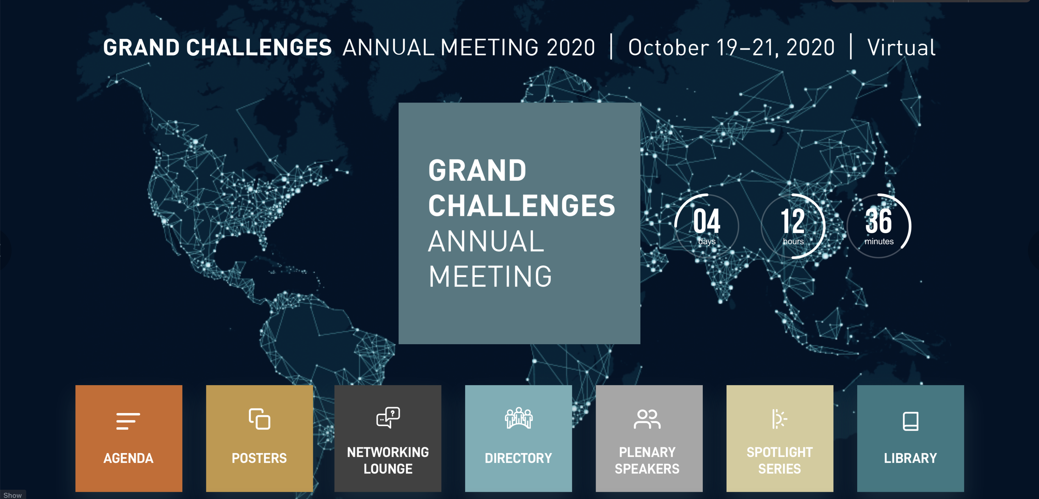"""Bill & Melinda Gates Foundation: screenshot of the 2020 """"Grand Challenges"""" event landing page. You can go anywhere from here."""