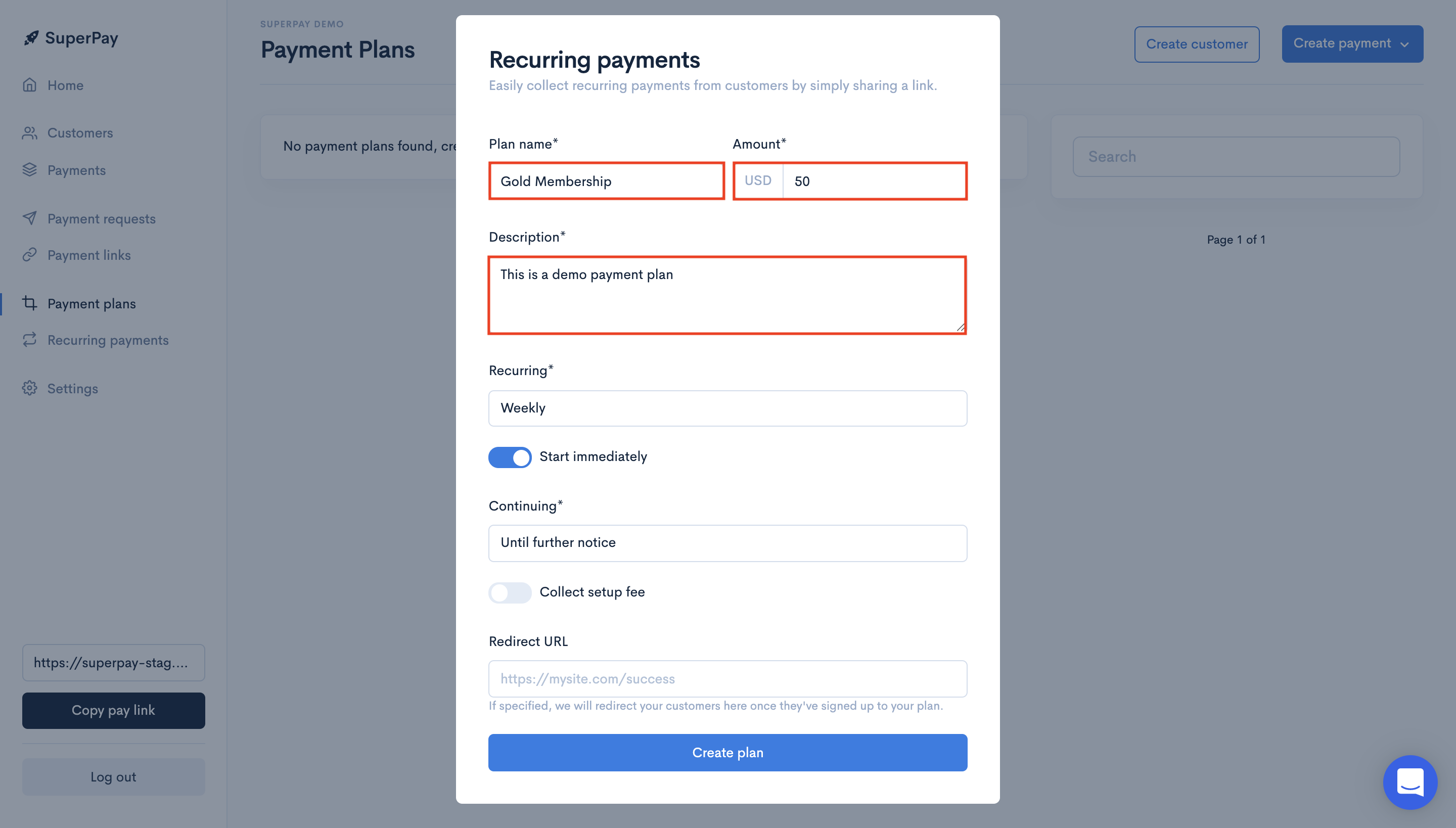 SuperPay recurring payment