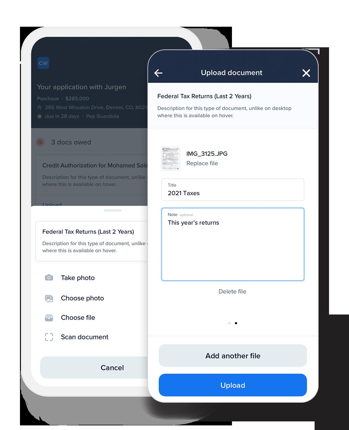 Mobile App – Loan Document Upload