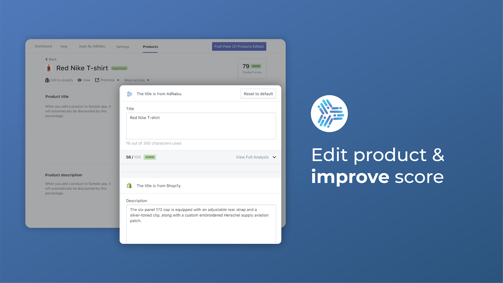 Edit Product & improve score