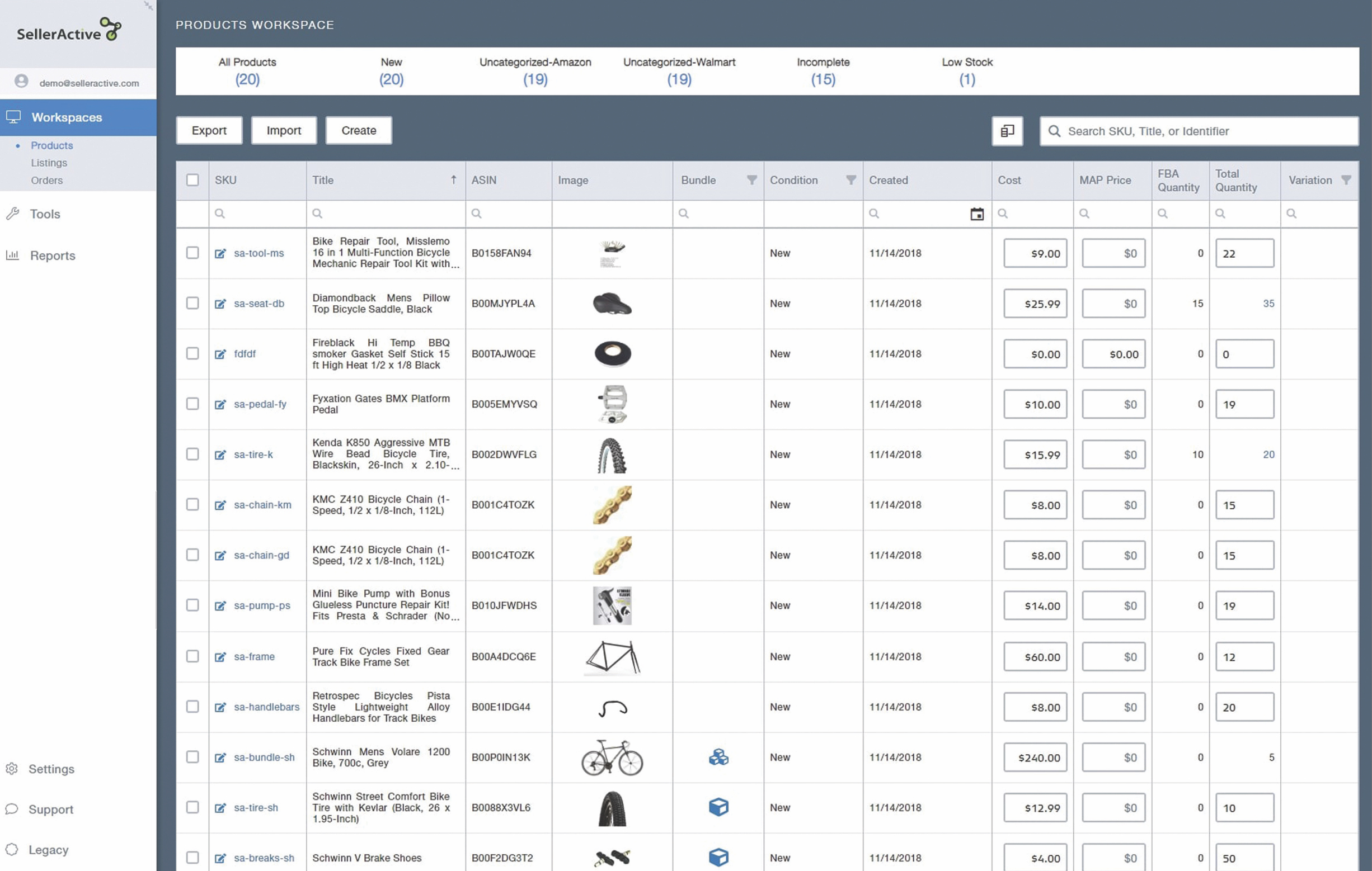 SellerActive's Products Workspace, where you can build a centralized catalog of items, and prepare them for sale.