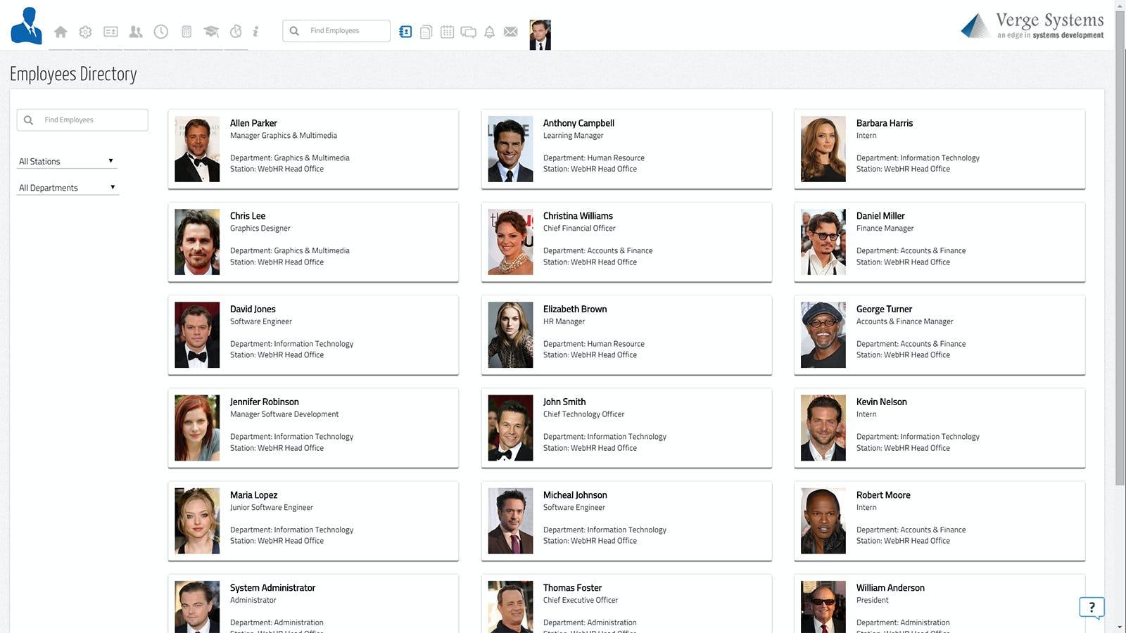 WebHR Software - Employees Directory
