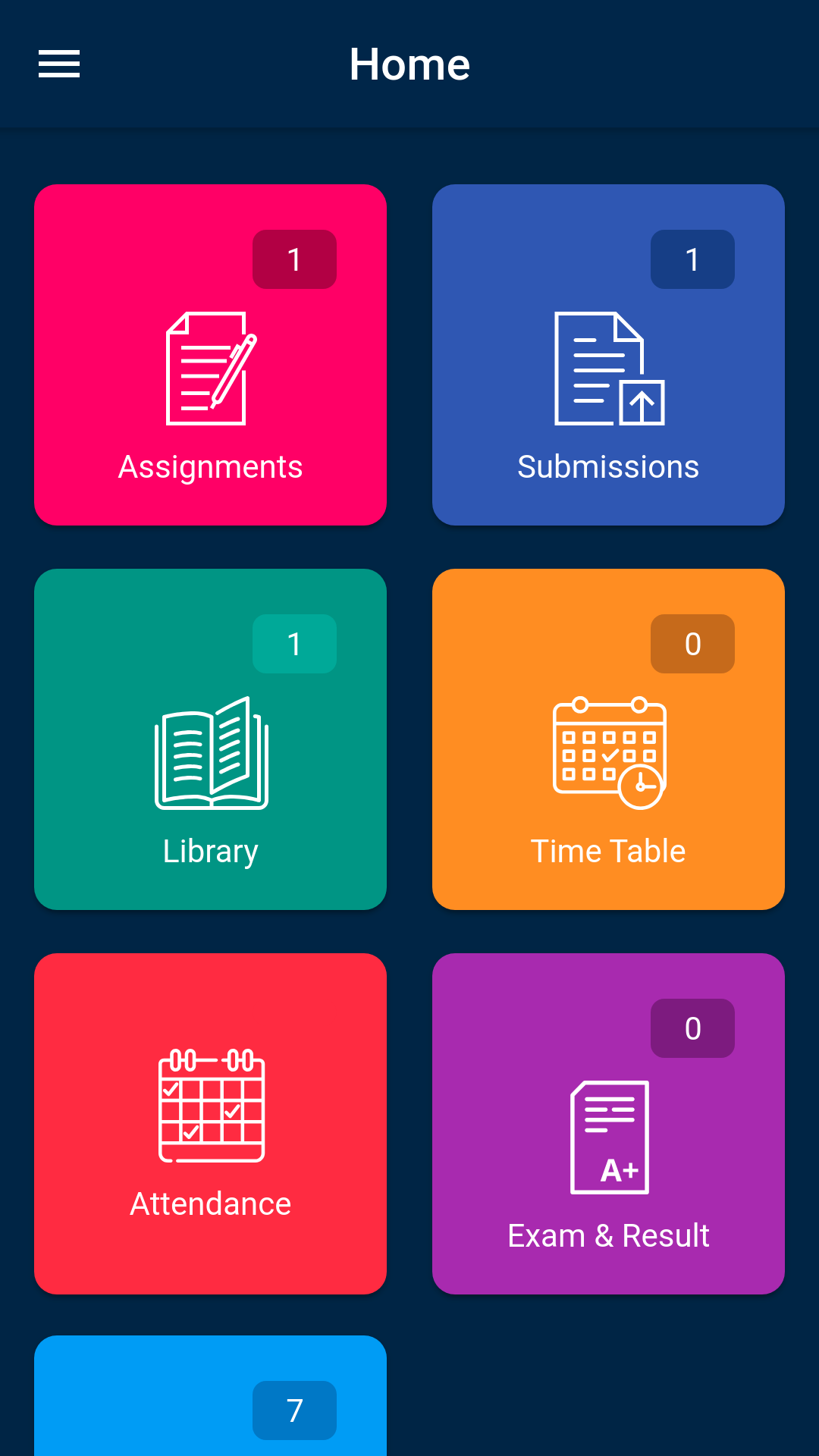 OpenEduCat student home screen mobile