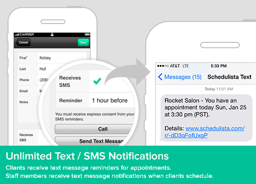 Unlimited SMS/Text message reminders