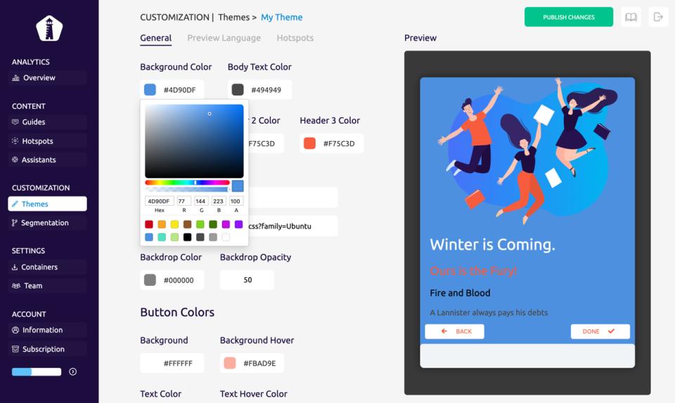 UserGuiding guide customization