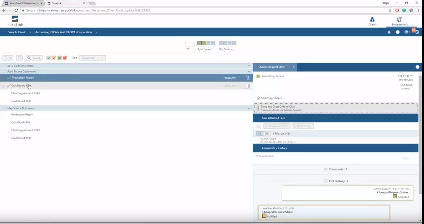 Suralink screenshot: Suralink requests status management