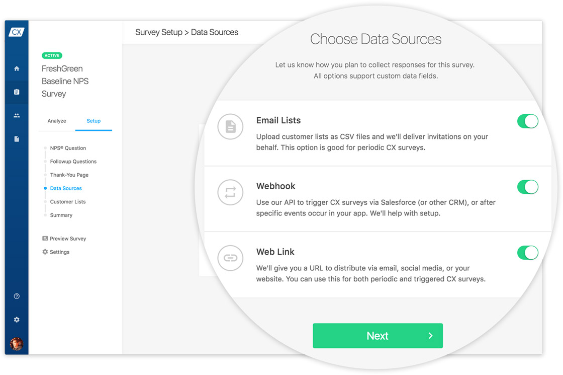 Upload customer lists, and import NPS data captured with SurveyMonkey and TechValidate