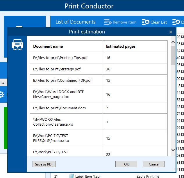 Print Conductor page estimator