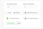 AttendanceBot screenshot: Set-up rules for leave accrual and define quotas for each leave type and how they carry over from year to year