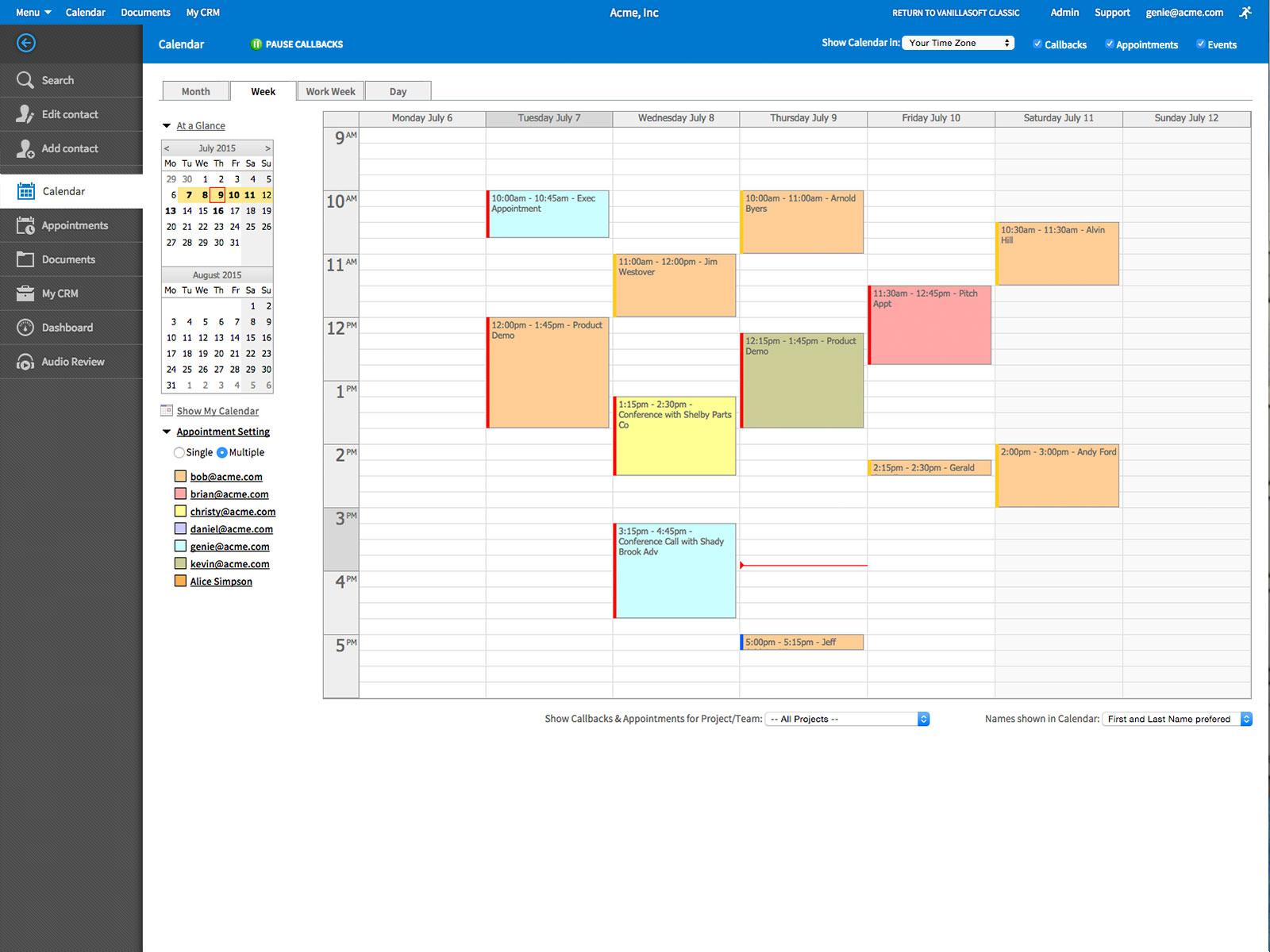 VanillaSoft Software - Calendar