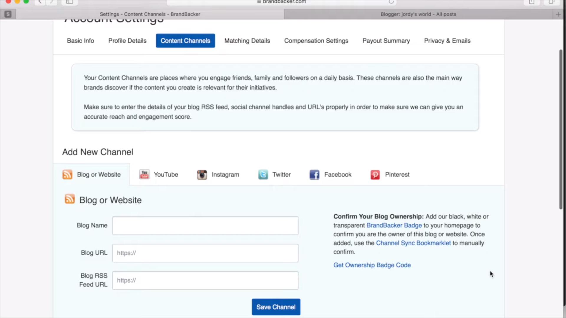 BrandBacker social media channels