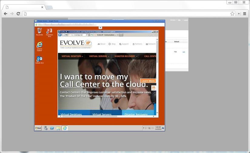 Evolve IP DaaS  end-user interface