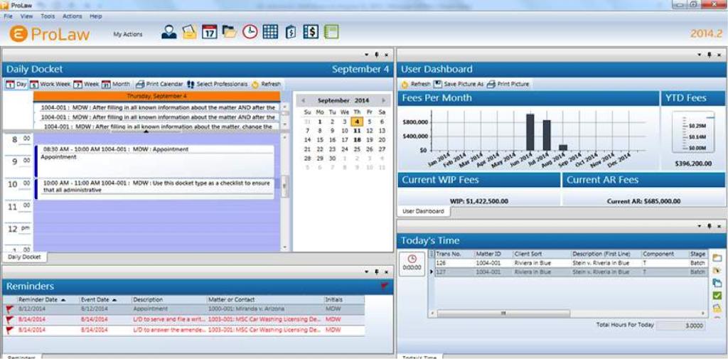ProLaw user dashboard