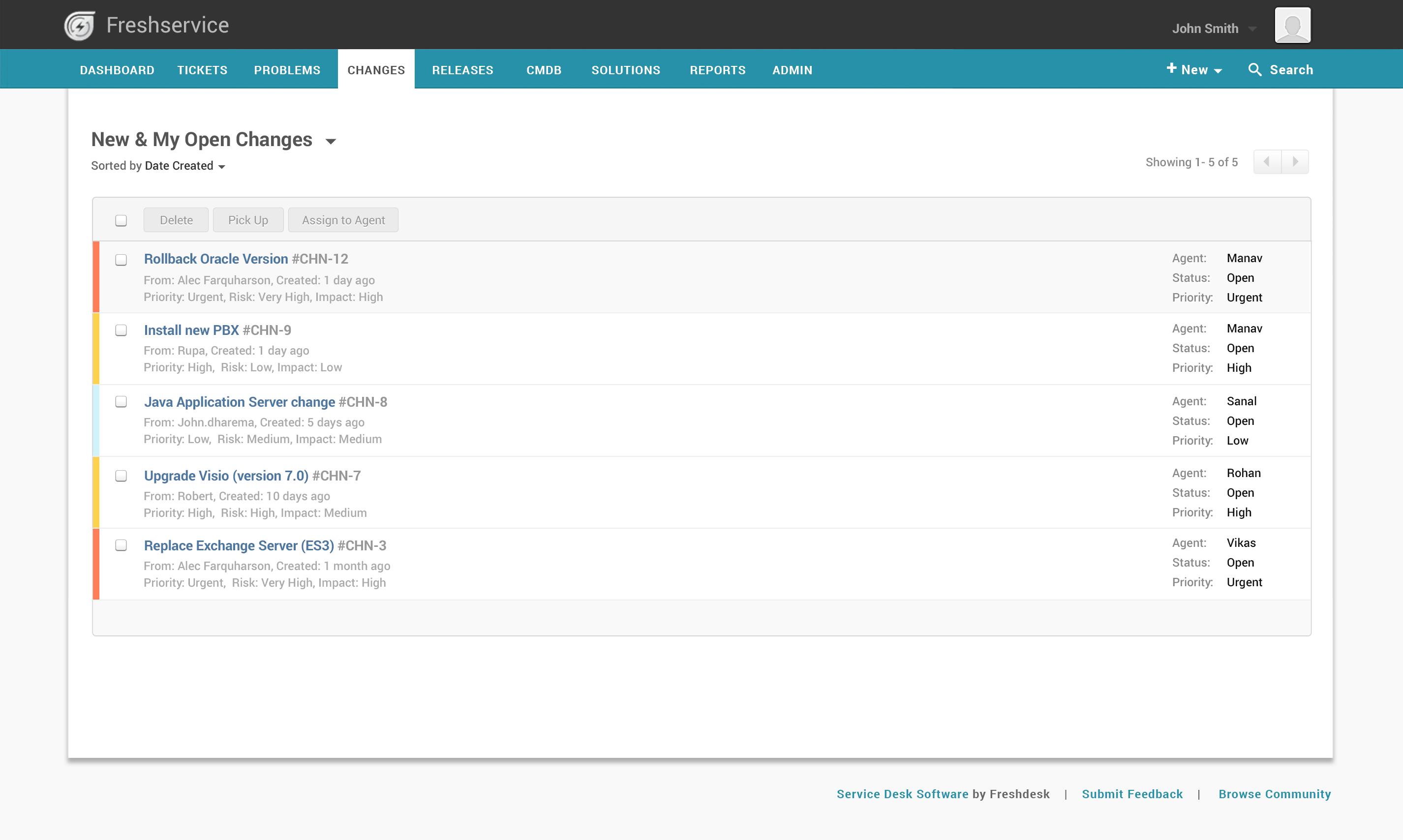 Freshservice Software - Freshservice change management