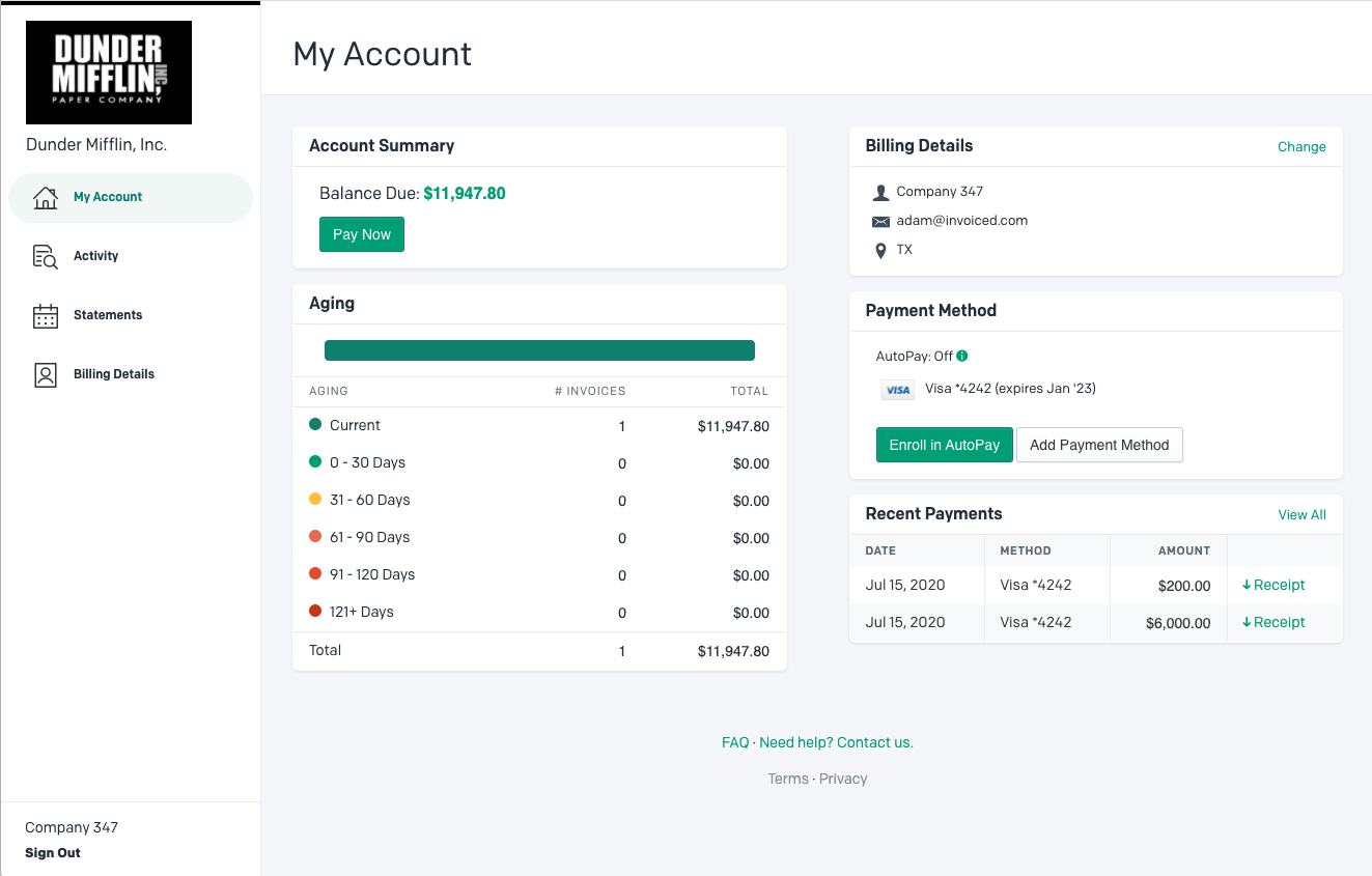 Invoiced Software - Modern, Easy-to-Use Billing and Payment Portal for Customers