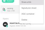 Capture d'écran pour .ID Signatures : .ID share document link
