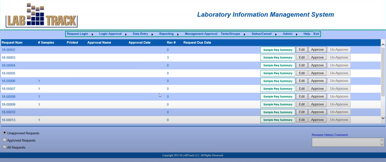 LABTRACK LIMS approvals