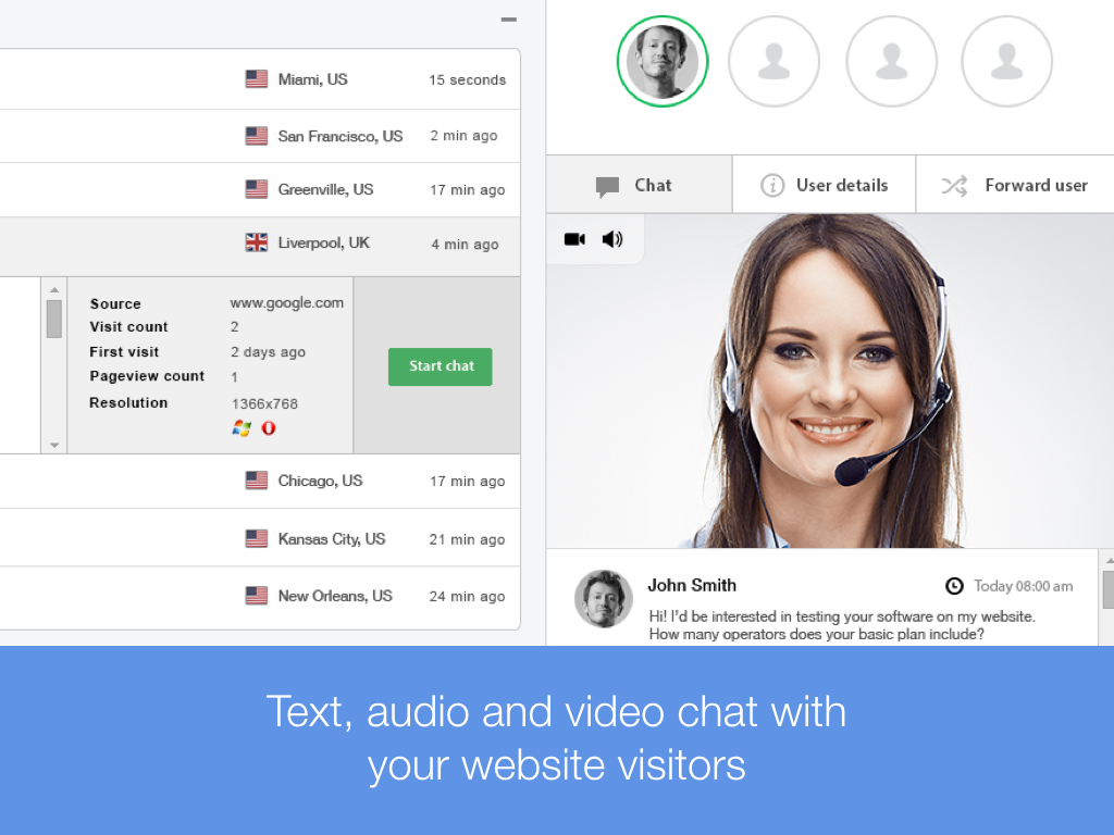 CustomerICare Software - Text, audio, video chat