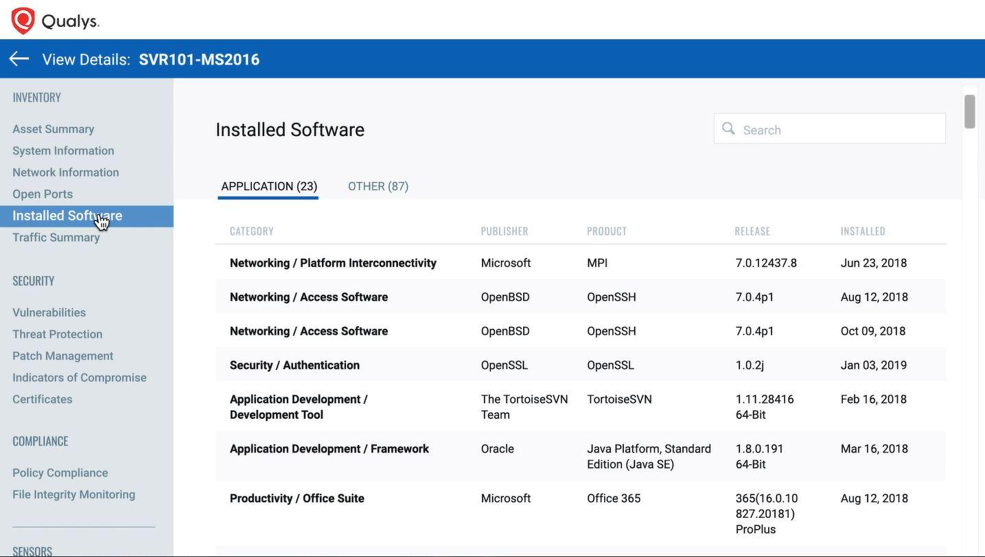 Qualys Cloud installed software details