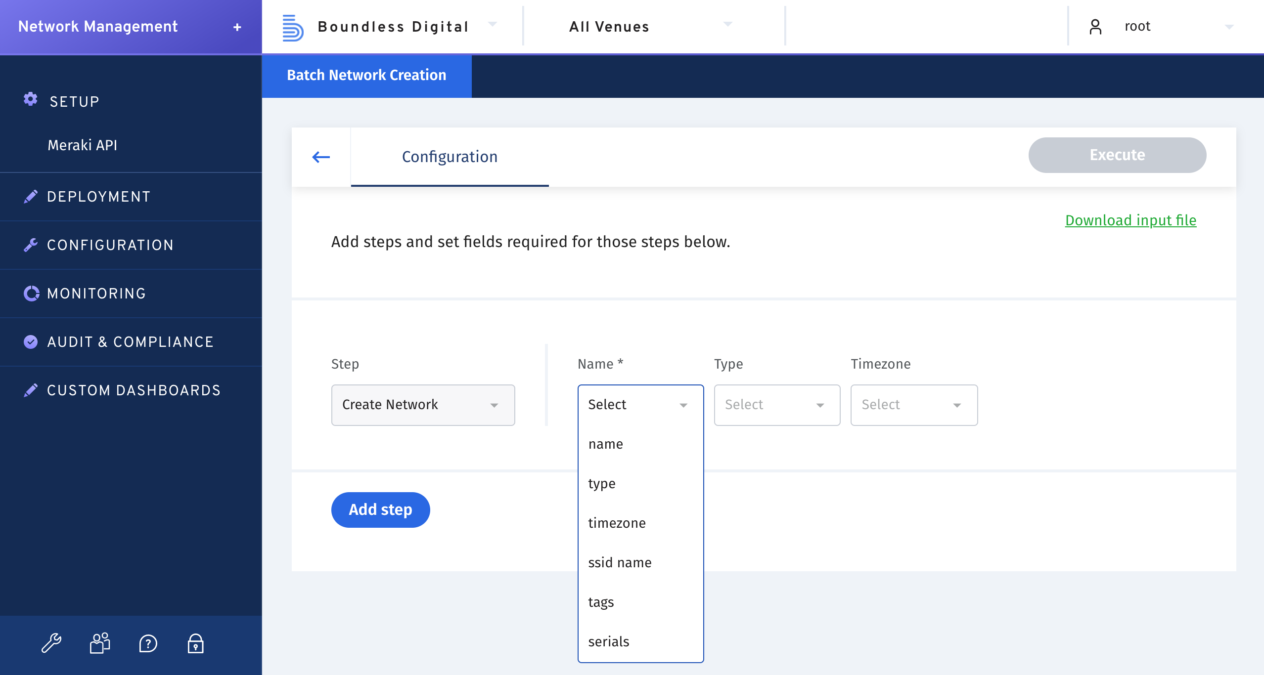 Deploy and provision networks in batches. Build custom workflows to automate the deployment and provisioning of hundreds of networks in just a few clicks and with no risk of human error.