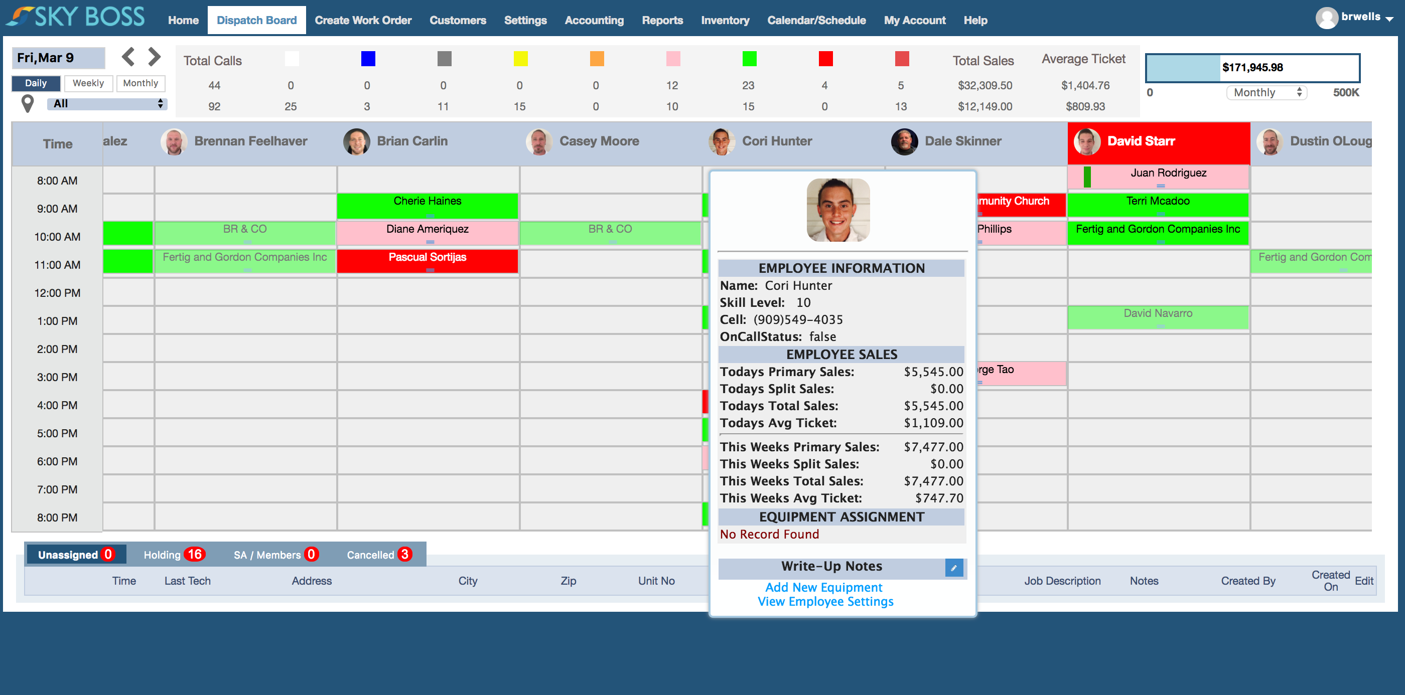 A flexible drag and drop calendar is color-coded to give an overview of upcoming scheduling at a glance