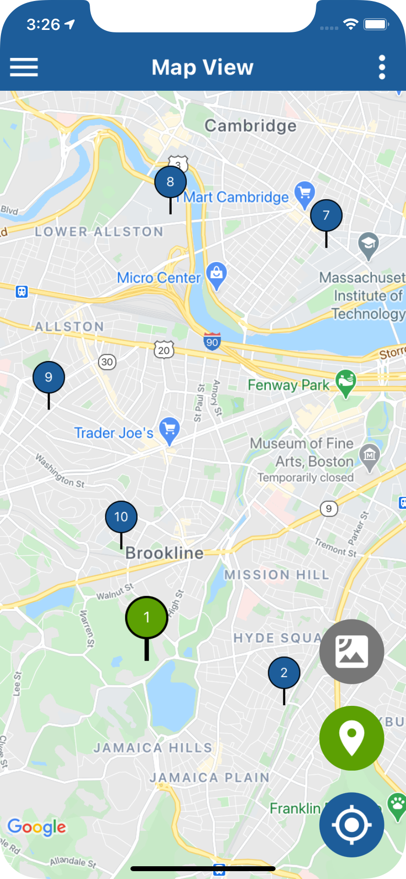 MyRouteOnline map view