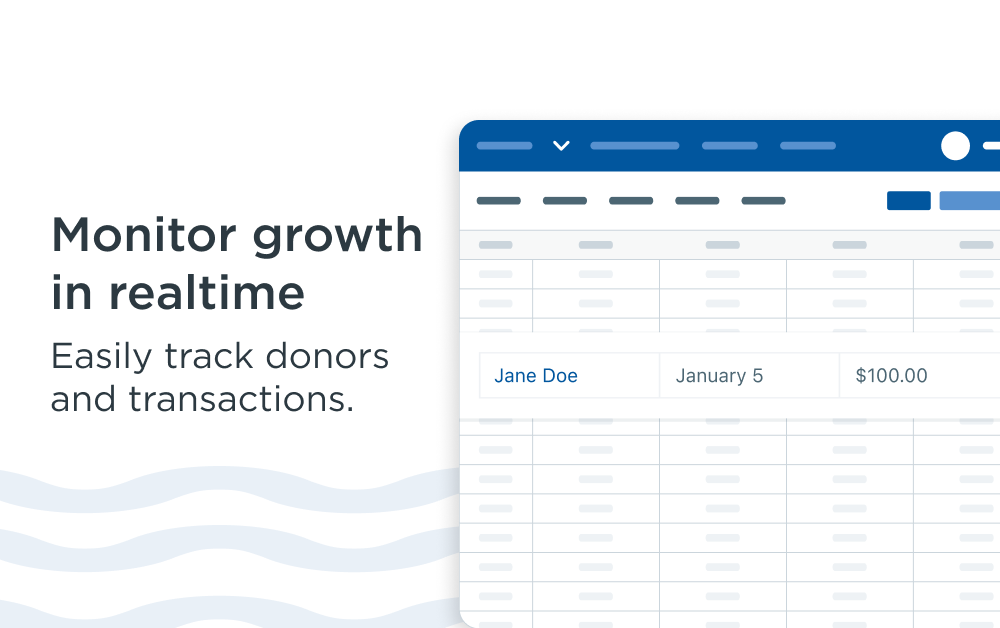 Monitor growth in real time to easily track donors and transactions