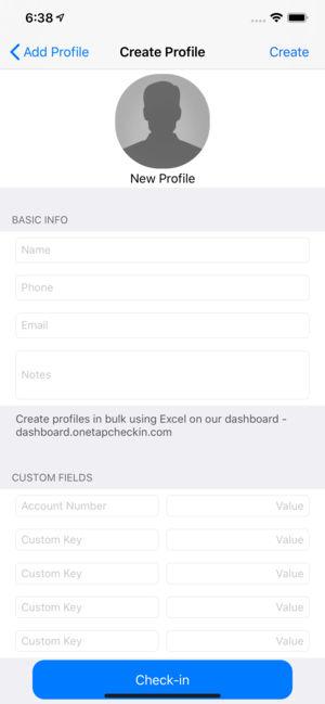 iOS application interface