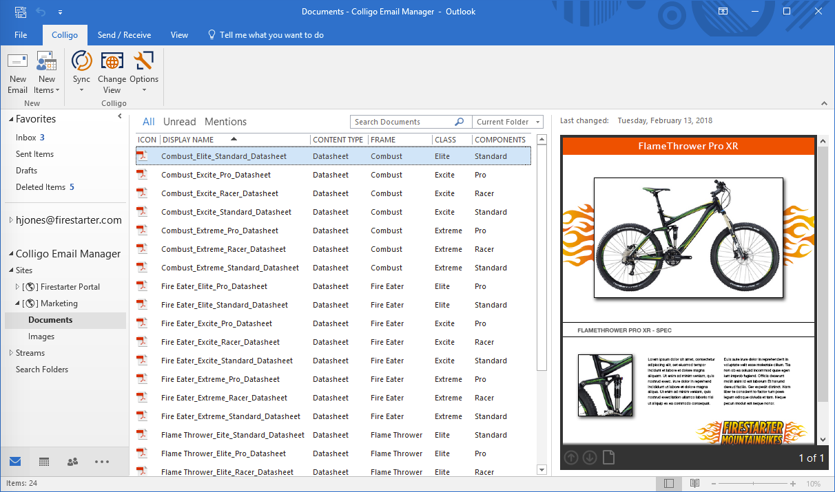 Colligo Email Manager for Microsoft 365 document library