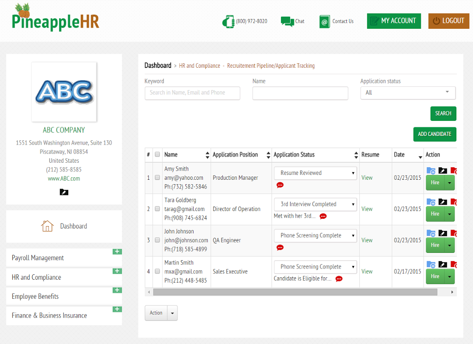 PineappleHR Software - Recruiting Pipeline/Applicant Tracking System