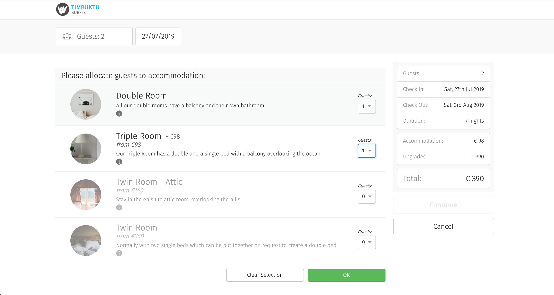 Bookinglayer screenshot: Booking Form - Accommodation selection