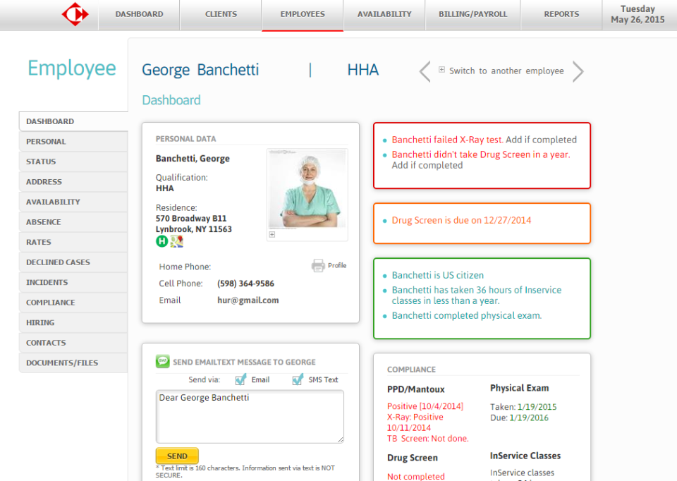 Users can view employee-specific compliance details on employee profiles in Carecenta