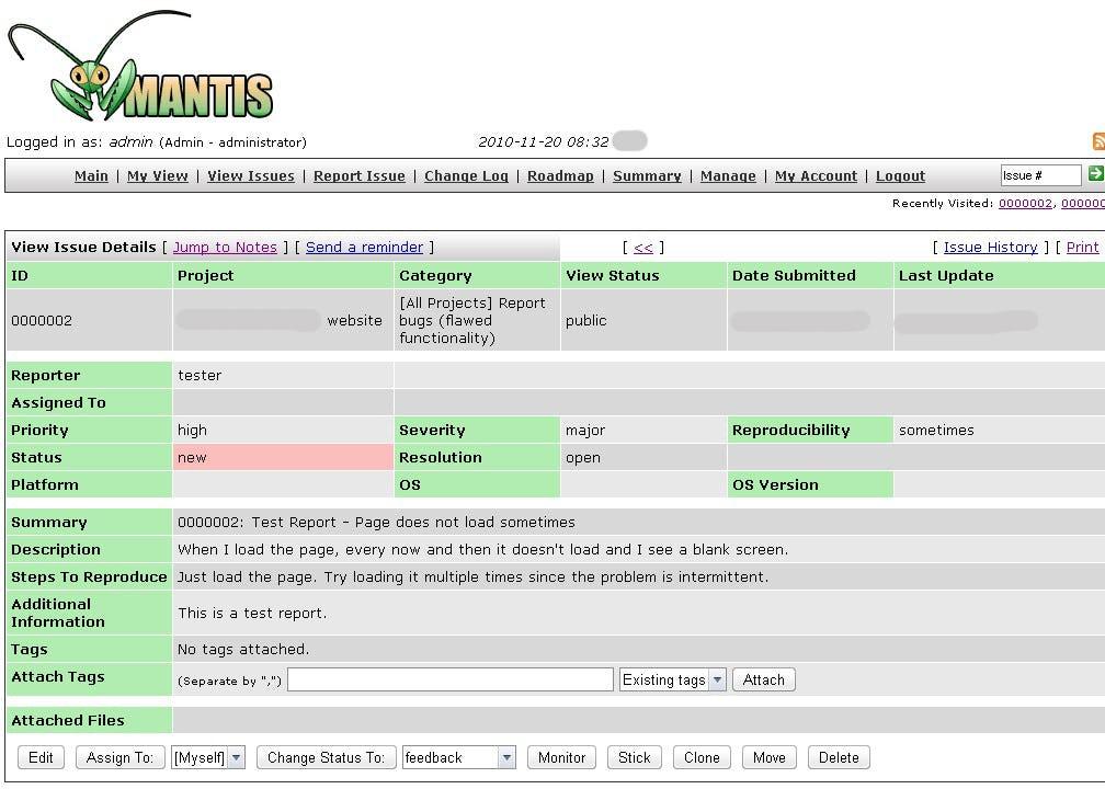 MantisBT Software - Issue status