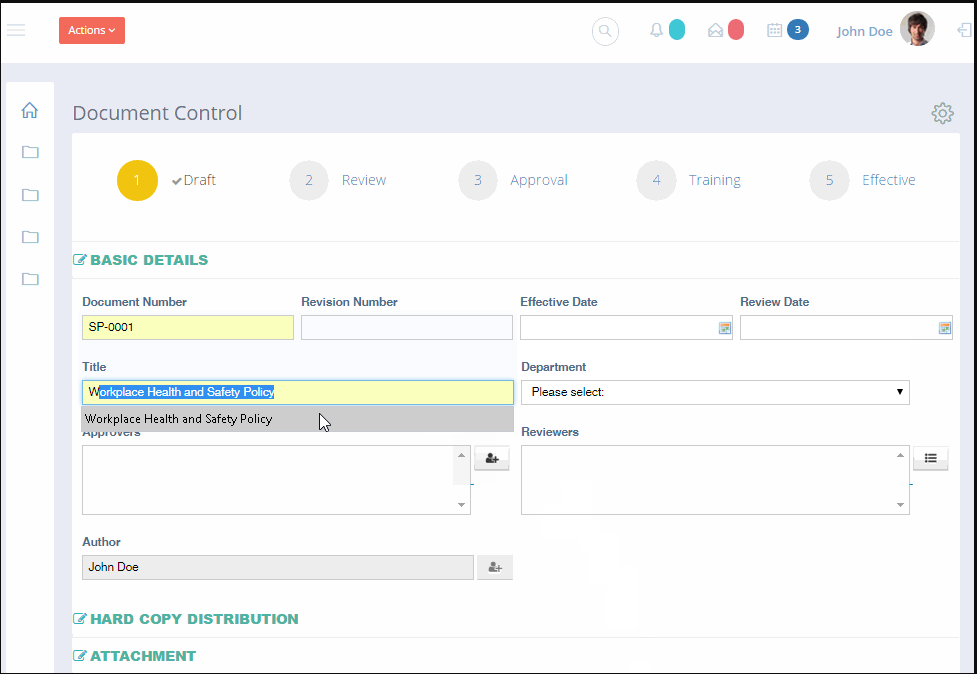 Momentum QMS document control screenshot
