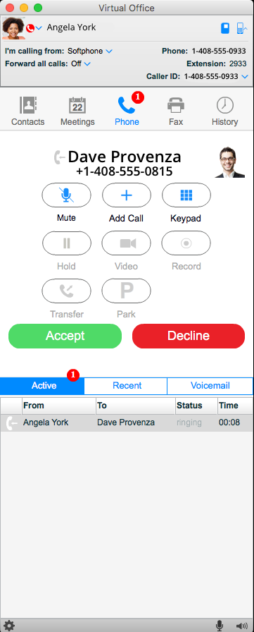 Virtual Office incoming call