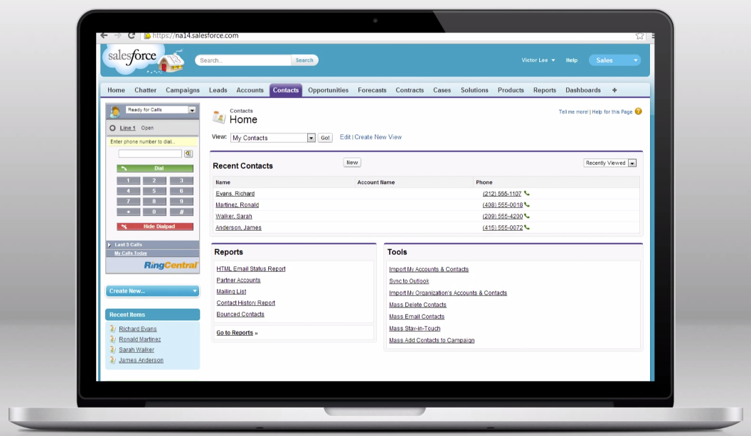 With RingCentral for Salesforce, users can instantly view caller records, and more