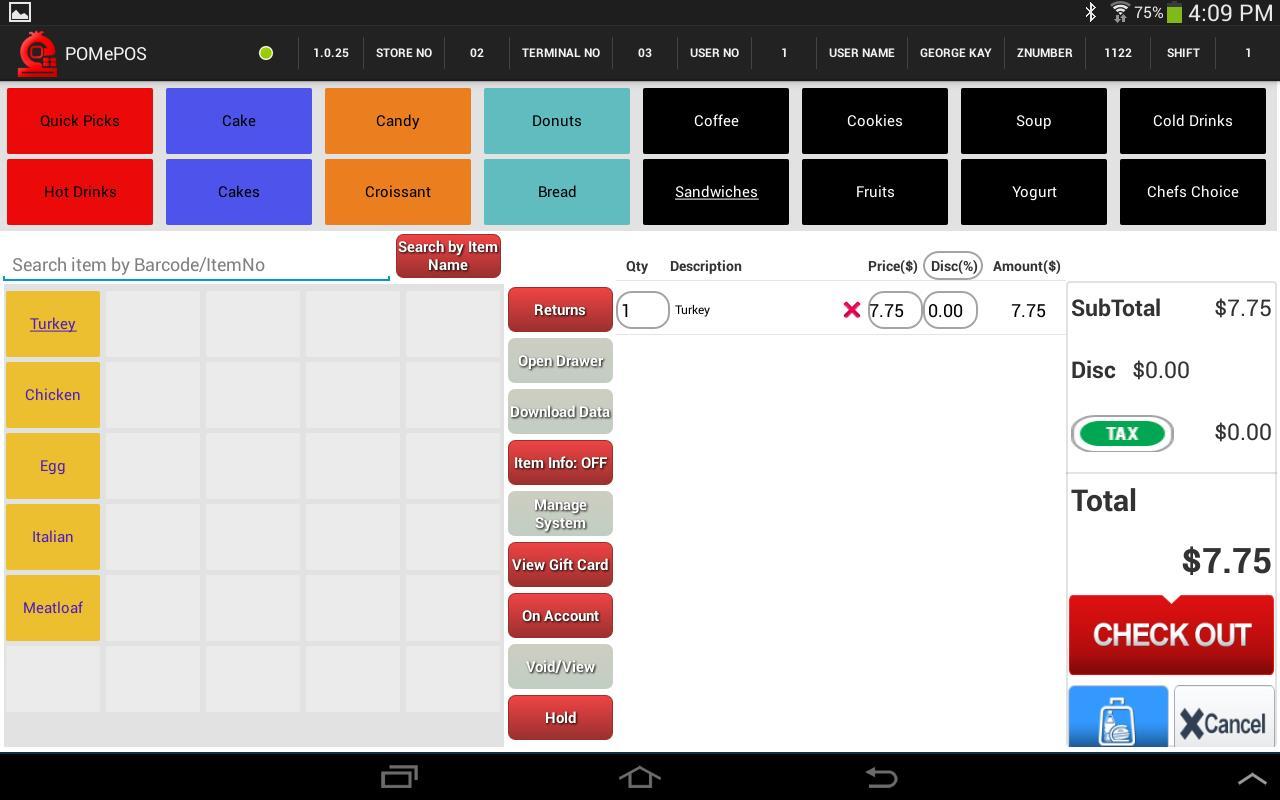POMePOS Software - Pre-checkout screen