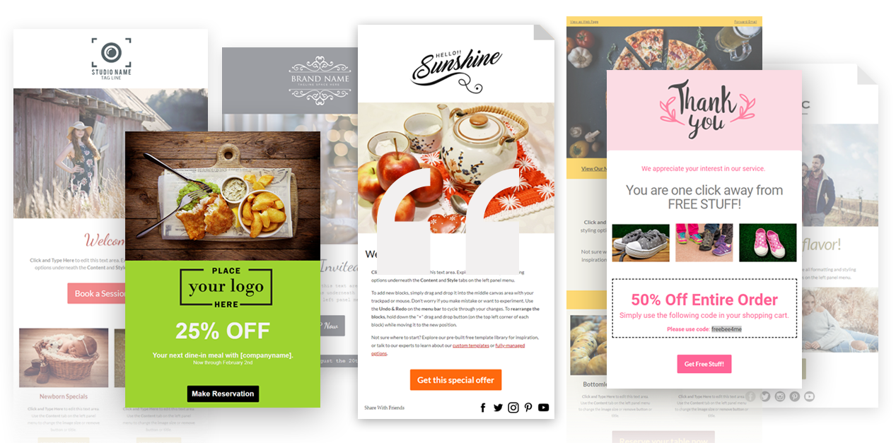 100's of free email templates that can be used as is or customized to your business!