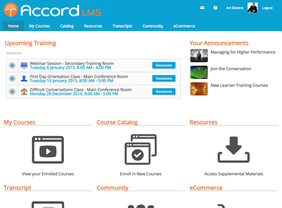 Accord LMS screenshot: Learners stay up to date with Accord's intuitive Learner Dashboard featuring targeted announcements, training calendar, assigned courses, and other helpful features